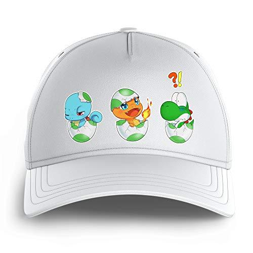 OKIWOKI Yoshi - Pokémon Lustiges Weiß Kinder Kappe - Yoshi, SCHIGGY und GLUMANDA (Yoshi - Pokémon Parodie) (Ref:885)