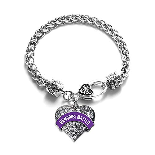 Inspired Silver - Memories Matter Alzheimer's Awareness Braided Bracelet for Women - Silver Pave Heart Charm Bracelet with Cubic Zirconia Jewelry