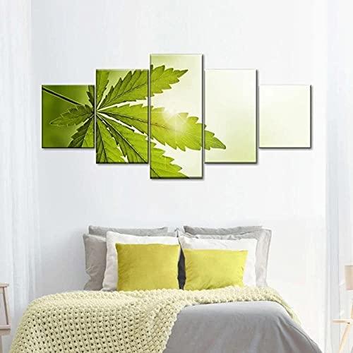 GHYTR Cuadro En Lienzo Decoracion 5 Piezas HD Imagen Impresiones En Lienzo Póster Pintura Mañana De Marihuana 5 Piezas Cuadro Moderno XXL 150X80Cm Murales Pared Oficina Decor