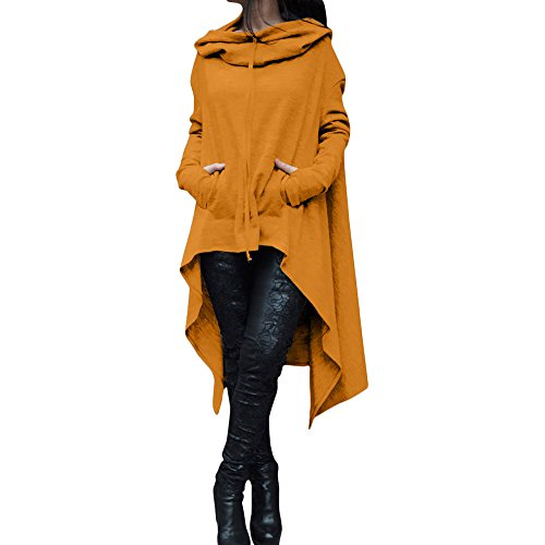 Irregular Hood Sweatshirt for Women Casual Pullover Blouse Hooded Ladies Long Tops Yellow