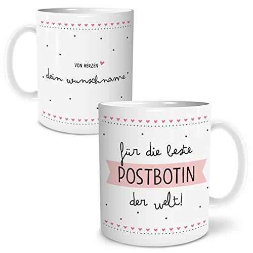 OWLBOOK Beste Postbotin Große Kaffee-Tasse mit Spruch im Geschenkkarton Personalisiert mit Namen Geschenke Geschenkideen für die Postbotin als Danksagung Weihnachten