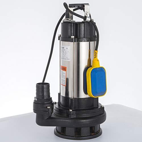 VEVOR Bomba de Inmersión para Aguas Sucias Bomba Sumergible de Aguas Residuales 1500W Bomba de Inmersión para Aguas Residuales Bomba de Agua Sucia