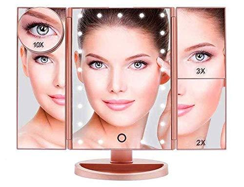 Boston Tech BE-104 Tischspiegel Schminkspiegel Beleuchtet mit 21 Leuchtmittel Make Up Spiegel 1X/2X/3X/10X Vergrößerung kosmetikspiegel...