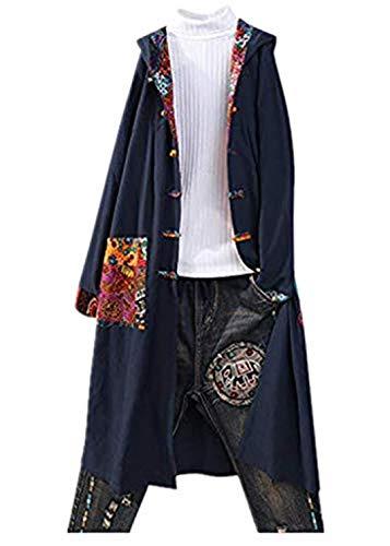 KPILP Damen Cardigan Langarm Pullover mit Kapuze Vintage Druck Mantel Lang Jacke Kapuzenpullover Bluse Tops Knopf Outwear mit Taschen Herbst Winter Übergröße