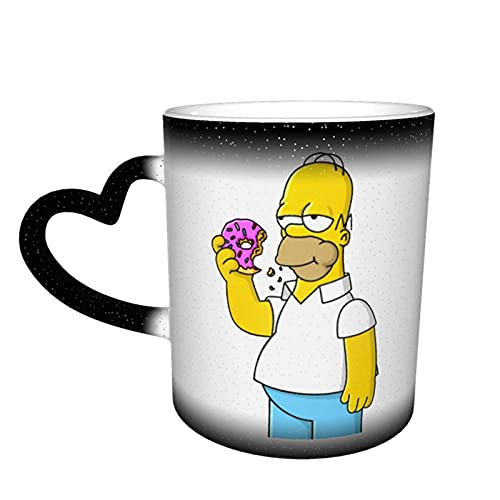 DJNGN HOM-Er Sim-Pson Taza de café con cambio de calor Taza de cerámica sensible al calor Color sensible al calor Taza de color cambiante Taza de café mágica de color