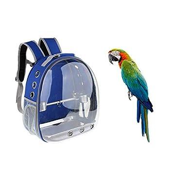 Kuizhiren1 Sac de Transport pour Perroquet pour Animal Domestique Transparent Cage pour Perroquet Étanche, Blue