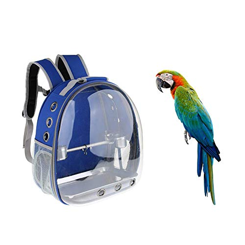 Kuizhiren1 Transporttasche für Papageien, für den Außenbereich, für Haustiere, Reise-Rucksack, transparenter Käfig für Papageien und Vögel, Blau