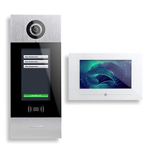 SMART7-2-Draht Video Türsprechanlage, 3 Familienhaus-Set, Türstation mit 7' Touchscreen - AVS7703
