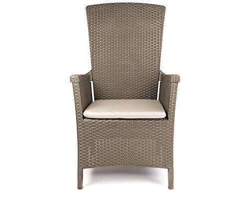 Ondis24 Hochlehner Sessel Vermont, Gartenstuhl Rattan Design, Gartensessel Outdoor, Sonnenliege 4 Stufen, Gartenliege (beige)