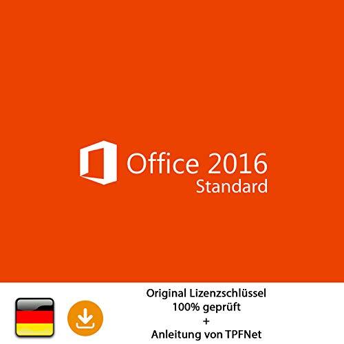 MS Office 2016 Standard 32 bit & 64 bit Vollversion Original Lizenzschlüssel per Post und E-Mail + Anleitung von TPFNet® - Versand maximal 60Min