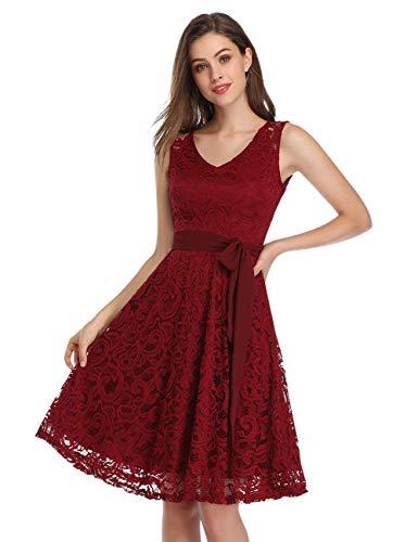 KOJOOIN Damen Vintage Kleid Brautjungfernkleid Knielang Spitzenkleid Cocktailkleid Bordeaux Weinrot XS