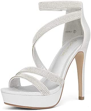 DREAM PAIRS Women s Silver Pearl Rhinestone Open Toe High Stilettos Ankle Strap Platform Heel product image