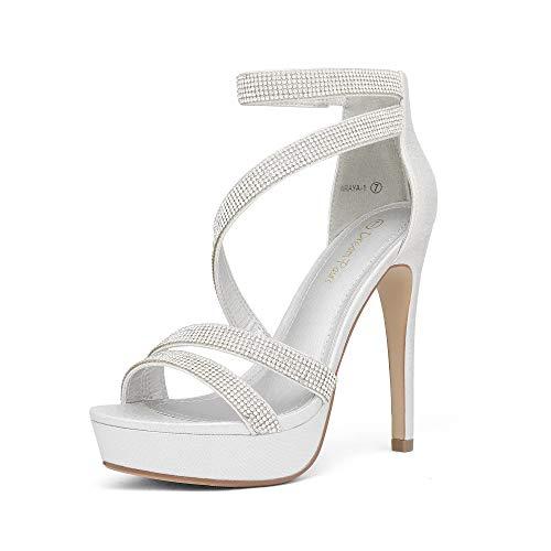 DREAM PAIRS Women's Silver Pearl Rhinestone Open Toe High Stilettos Ankle Strap Platform Heel Sandals Fashion Dress Pumps Wedding Bride Shoes Size 5.5 US Araya-1