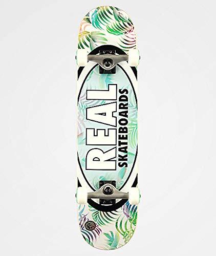Real Weiß Grun Teal Tropics Oval - 7.75 Inch Skateboard Komplett (One Size, Grun)