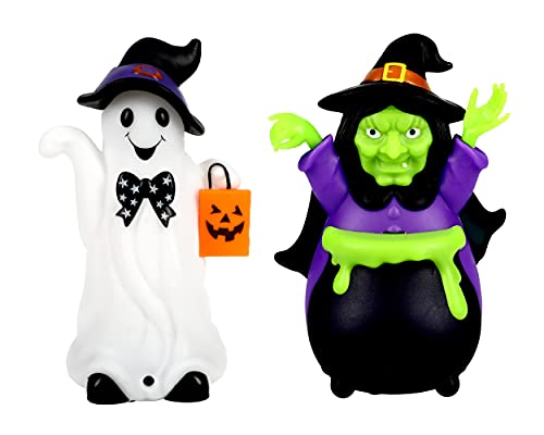Sister Novelties Motion Activated Halloween Decorations (Set of 2 - Halloween Ghost and Witch Decorations), Witch Halloween Decorations, Halloween Decorations Indoor, Halloween Home Decor