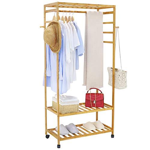 unho kleiderständer Bambus, Garderobenständer auf Rollen, offener Kleiderschrank mit Schuhablage Kleiderstange Haken, stabil für Schlafzimmer Flur 80 x 35 x 165 cm