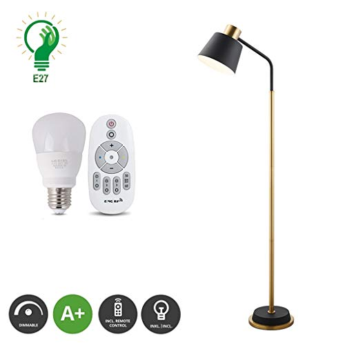 XXCC Staande lamp, intelligente afstandsbediening, dimmingtiming woonkamer, E27-fitting, leeslamp, Nordic slaapkamer, werkkamer, eenvoudig verticaal koperen vloerlampen