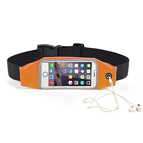 ACOMOO Riñonera con cinturón para correr, mochilas para correr, impermeables, ajustables, reflectantes, con pantalla táctil, riñoneras para todos los móviles de hasta 6.7 '' -naranja