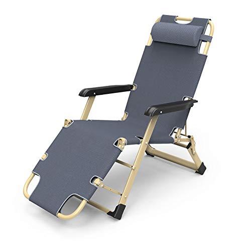 Lounge chair Sedie a gravità Zero Gravity, Heavy Duty Pieghevole reclinabile Regolabile reclinabile con Cuscini per Patio, Piscina, Giardino - Supporto per Sedia a Sdraio Portatile 200Kg,Gray