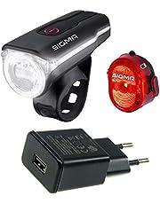 SIGMA SPORT LED Beleuchtungsset Aura 60 (schwarz mit USB-Netzteil, Einheitsgröße)