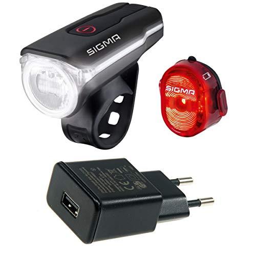 SIGMA SPORT Kit d'éclairage LED Aura 60 (noir avec bloc d'alimentation USB, taille unique)