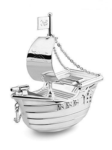 Brillibrum Design Sparbüchse Piraten-Schiff versilbert anlaufgeschützt mit Wunschgravur Segel-Boot Glänzend Kinder-Spardose Namen-Gravur Sparschwein Schiff mit Gravur