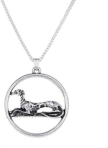 ZJJLWL Co.,ltd Necklace Necklace Antique Silver Resting Greyhound Necklace Sitting Gray Dog Pendants Charm Choker Necklaces Christmas for Women Men Gift
