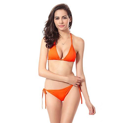 Rudxa Bikini Badeanzug einfarbige sexy Damenbadebekleidung-oranger_XL