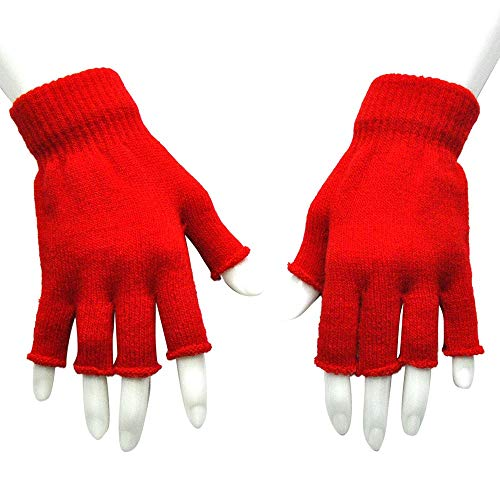 Guantes de Punto sin Dedos Guantes Cálidos de Medio Dedo Guantes de Conducción de Punto de Invierno para Mujer Hombre en Clima Frío (1 Par)