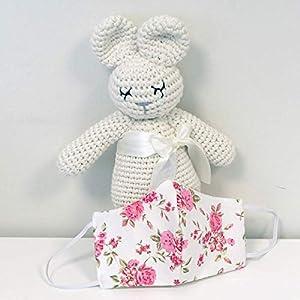 2er Set Behelf-Mund-Nasen-Maske aus Baumwolle Weiß Pink Blumen