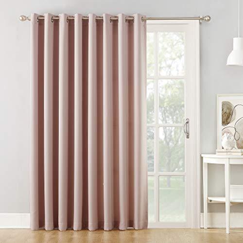 """Sun Zero Barrow Grommet Sliding Patio Door Curtain Panel, 100"""" x 84"""" Wide Door, Blush Pink"""