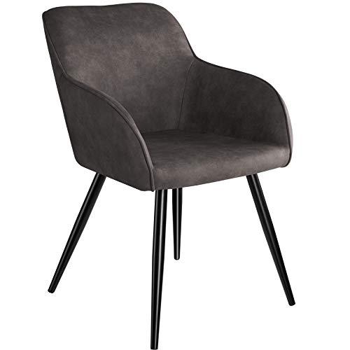 TecTake 800846 Esszimmerstuhl mit Armlehnen, gepolsterte Stoff Sitzfläche, Schwarze Metallbeine, für Wohnzimmer, Esszimmer, Küche und Büro (Dunkelgrau)