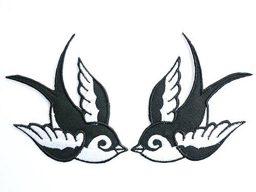 2 x Black White Swallows &Birds Aufnäher Aufbügler Patch Patches Applikation 9.91 cm 8,7 cm
