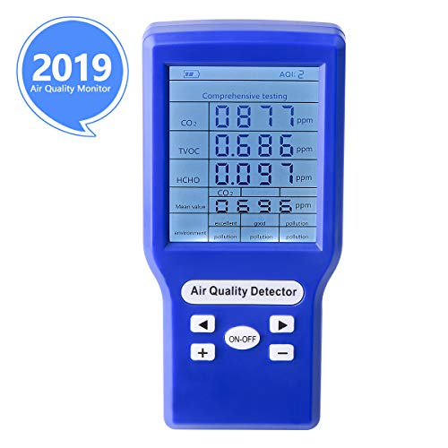 Indoor Air Quality Monitor Yvelines Accurate Tester for CO2 Formaldehyde(HCHO) TVOC Multifunctional Air Monitor Real Time Data&Mean Value Recording for Home Office and Various Occasion