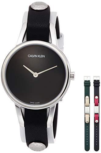Reloj de Calvin Klein, de 32 mm de Acero Inoxidable Correas de Reloj de Cuero Blanco Negro Verde K9D231LY