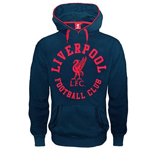 Liverpool FC - Herren Fleece-Hoody mit Grafik-Print - Offizielles Merchandise - Geschenk für Fußballfans - Blau - XL