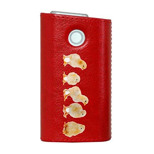 glo グロー グロウ 専用 レザーケース レザーカバー タバコ ケース カバー 合皮 ハードケース カバー 収納 デザイン 革 皮 RED レッド アニマル 鳥 動物 写真 002715