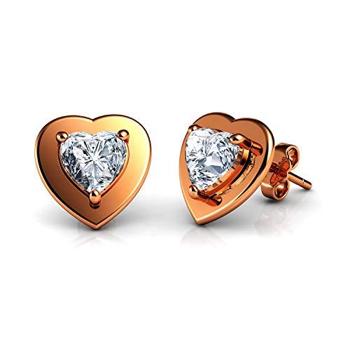 DEPHINI - Pendientes de tuerca de oro rosa - Plata de ley 925 chapada en oro - Pendientes de corazón para mujer - Regalos para ella