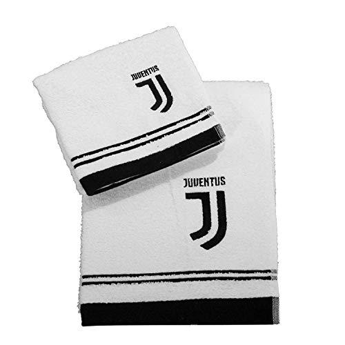 Juventus Set Spugna Coppia 2 Pezzi 1+1 OSPITE 40 x 60 + Asciugamano 60 x 100 Asciugamani 100% Spugna di Puro Cotone Bianco Nero