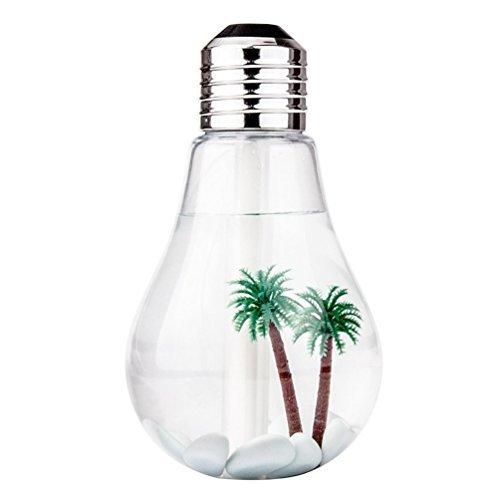 Humidificateur à ampoule, 7 couleurs LED veilleuse de bureau alimenté par USB changeant de couleur humidificateurs à ampoule ultrasonique frais