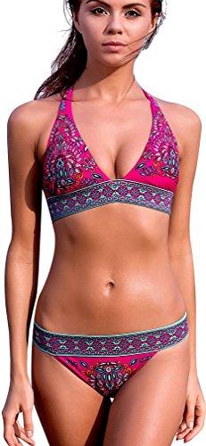 Imilan Boho Paisley Bikini Set Sexy Women Beachwear Swimsuit (US Size 2-4 (S), Red)