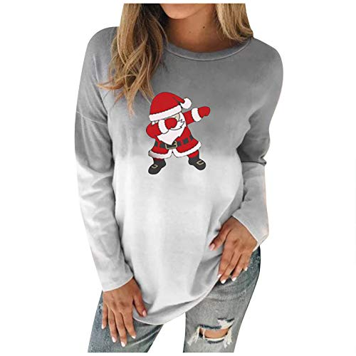 Lazzboy Store Sweatshirt Frauen Pullover O-Ausschnitt Weihnachten Weihnachtsmann...