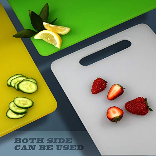 Fotouzy Plastic Utility Cutting Board with Handles, Food Safe PP Material, BPA Free, Dishwasher Safe, Thick Chopping Board, Large Size (15.5 x 10), Easy Grip Handle, for Kitchen (Yellow)