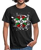 Drapeau Et Croix Basque Tâches T-Shirt Homme, L, Noir