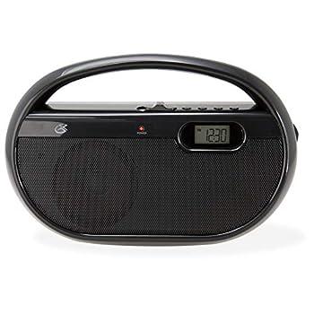 GPX Inc R602B Portable AM/FM Radio with Digital Clock and Line Input  Black
