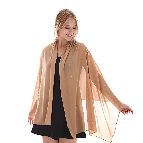 Bufanda de gasa de burbuja lisa para mujer elegante con chales y abrigos adornados con perlas para vestidos de noche (Nude