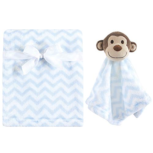 Hudson Baby Unisex Baby Plush Blanket with Security Blanket, Blue, One Size
