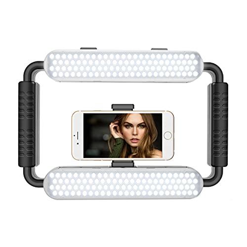 GVM Grip Pro Smartphone Video Rig, Stabilizzatore portatile e luce a led video, Fotocamera a LED per fotografia Registrazione video Impugnatura Maniglia Luce video con otturatore remoto Bluetooth