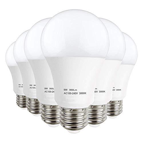 LAKES Ampoule LED A60 Culot E27 (Grosse Vis), 9W - Equivalence Incandescence 60W, Ampoule BC Blanc Chaud 3000K, Ampoule sphérique, Lot de 6