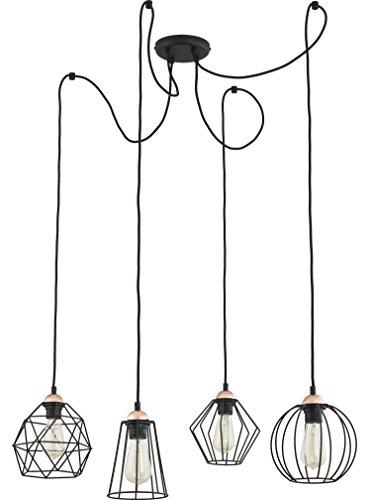 Pendelleuchte Schwarz E27 4-flammig Drahtgestell Decken Lampe Geometrisch Frame Design Modern Wohnzimmer Hängeleuchte Hängelampe